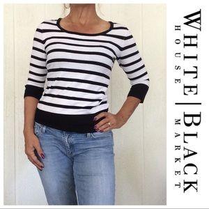 BLACK AND WHITE STRIPE SWEATER SMALL